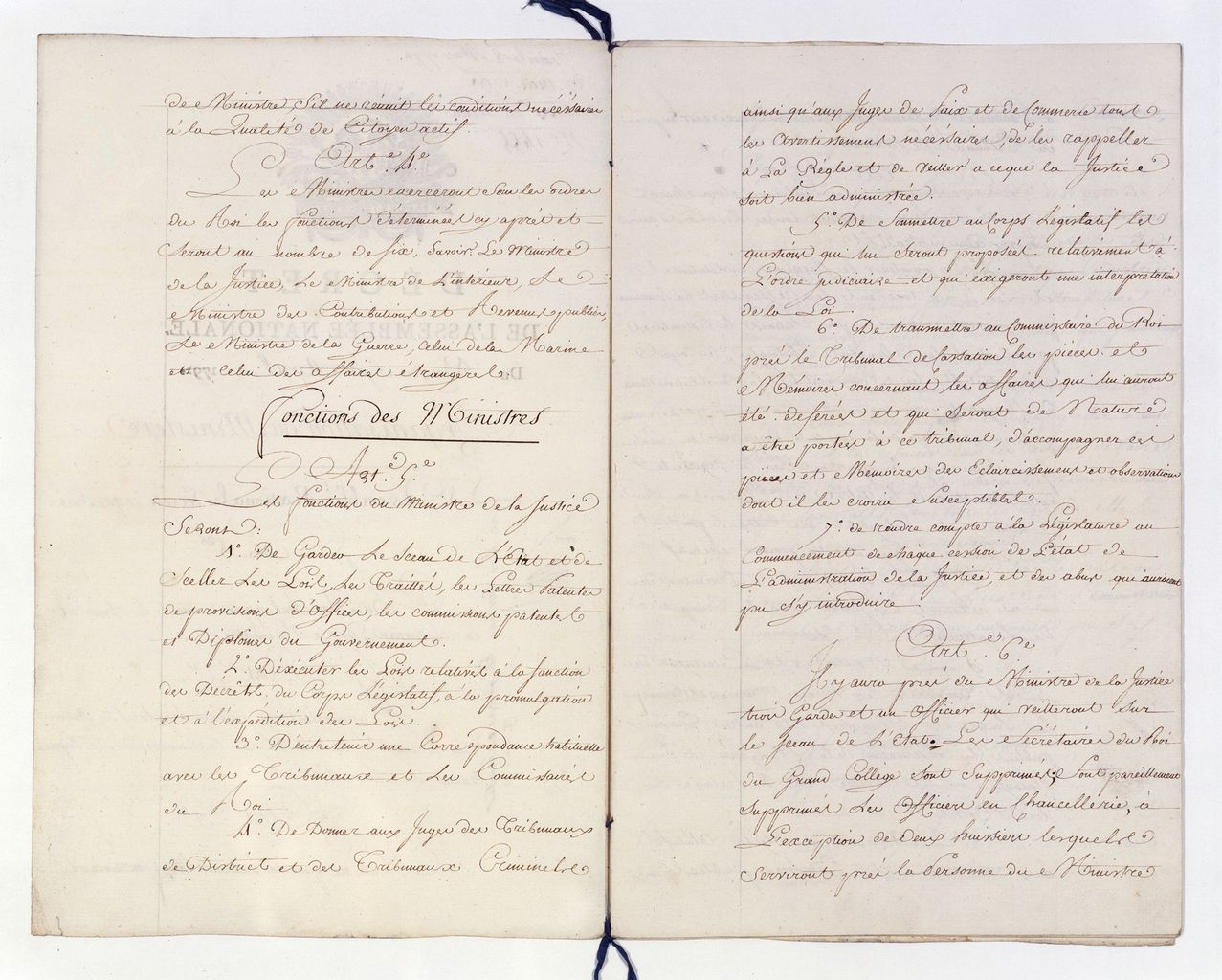 D�cret des 27 avril-25 mai 1791 sur l�organisation des minist�res. Articles 5 et 6 : De la justice. Paris, Archives Nationales [BB 34 1 14, n� 1455] � Archives nationales