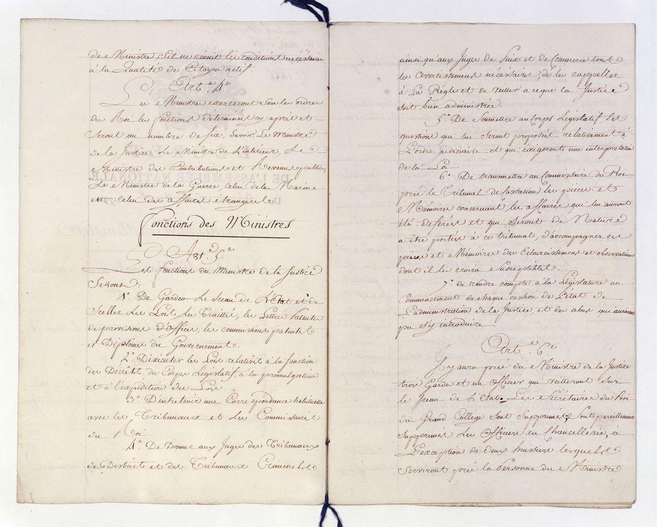 Décret des 27 avril-25 mai 1791 sur l'organisation des ministères. Articles 5 et 6 : De la justice. Paris, Archives Nationales [BB 34 1 14, n° 1455] © Archives nationales